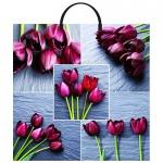 Пакет Коллаж-Тюльпаны с пластиковой ручкой