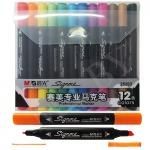 Набор маркеров 12 цветов, двусторонние, M&G