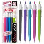Набор ручек шариковых, автоматических, 5 шт в блистере, EZEE CLICK, Flair