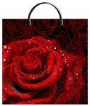 Пакет Роза красная с пластиковой ручкой