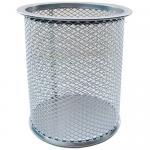 Подставка (стакан) для канцелярских принадлежностей, металлический, круглый, серебро