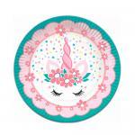 """Тарелки бумажные """"Единорог Pink&Tiffany"""", 18 см, 6 шт."""