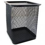 Стакан для канцелярских принадлежностей металлический квадратный, черный, GROSS