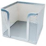 Подставка (бокс) для бумаг металлическая, серебро