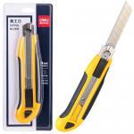 Нож канцелярский 18 мм, большой, желтый, Deli 2091