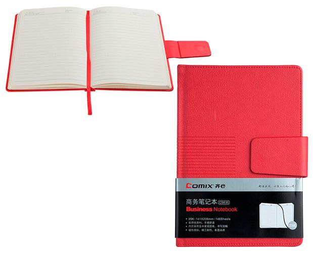 Ежедневник 140 л., 141х206 мм, красный, магнитная застежка
