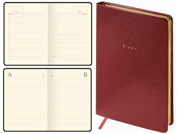Ежедневник 136 л., А5, недатированный, коричневый, зол.срез, WINDSOR