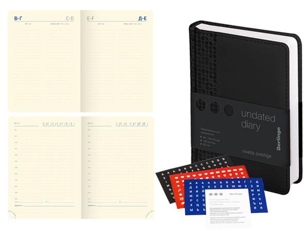 Ежедневник недатированный, A6, 160 л., кожзам, Berlingo Vivella Prestige, черный