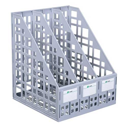 Лоток вертикальный сборный 3 секции серый