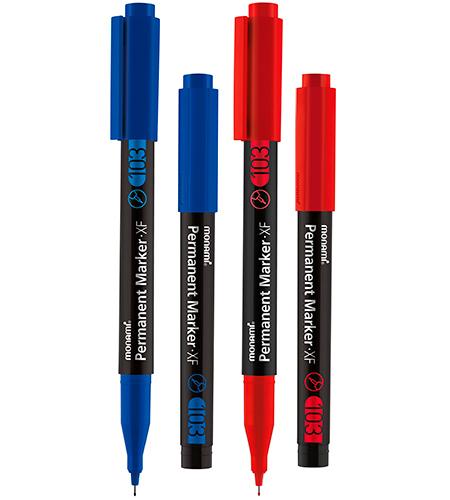 Набор маркеров перманентных XF, 2 цвета, 0,5 мм (синий + красный (ПОДАРОК))