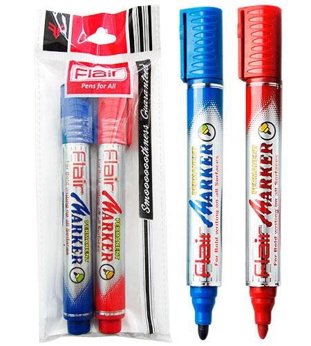 Набор маркеров перманентных 2 шт (синий + красный)