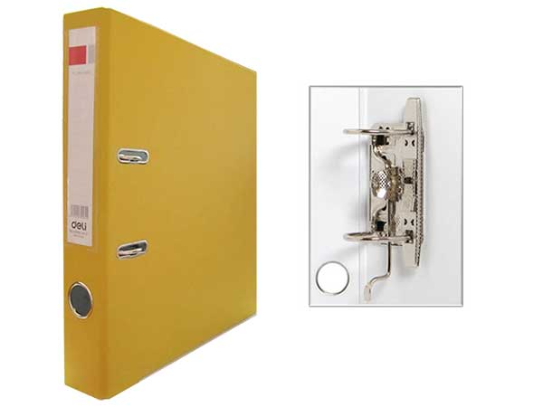 Регистратор А4, 50 мм, ПВХ, желтый, Deli