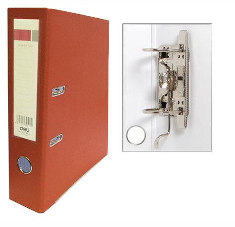 Регистратор А4, 75 мм, ПВХ. ярко-оранжевый, Deli