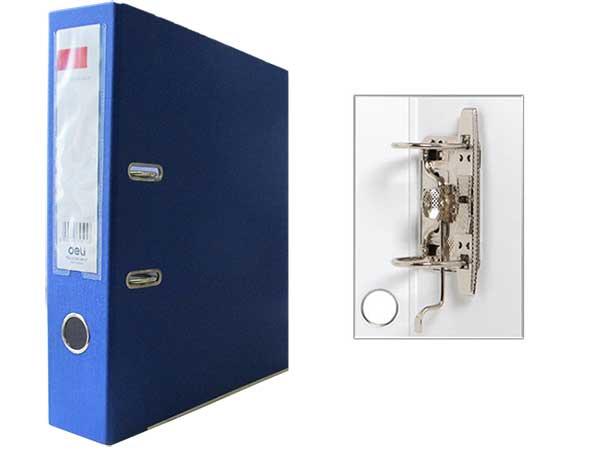 Регистратор А4, 75 мм, ПВХ, темно-синий, Deli