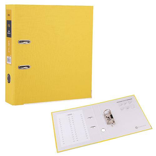 Регистратор А4, 75 мм, ПВХ, ярко-желтый, RIO Deli