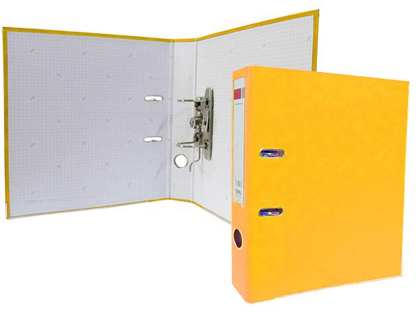 Регистратор А4, 75 мм, полипропилен, желтый, Deli