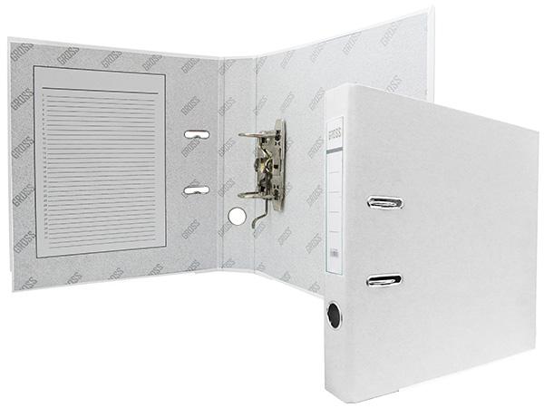 Регистратор, А4, 50 мм, полипропилен, белый, GROSS