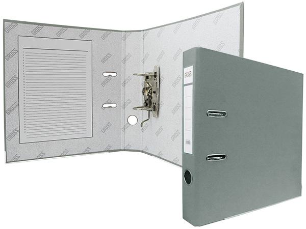 Регистратор А4, 50 мм, полипропилен, серый, GROSS