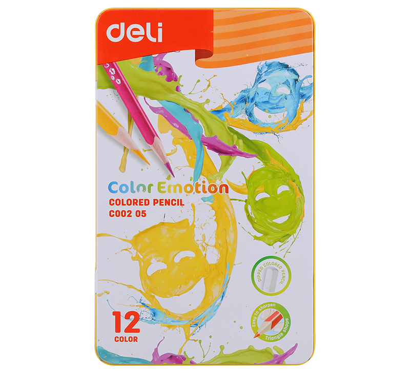 Карандаши Deli «Color Emotion», 12 цветов, в металлическом пенале