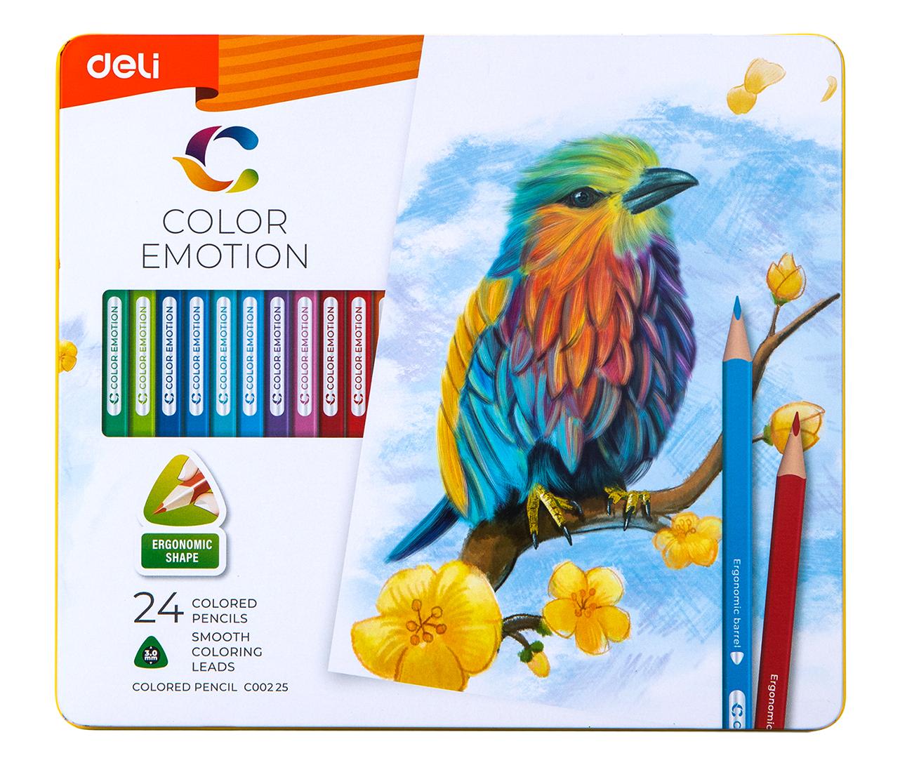 Карандаши Deli «Color Emotion», 24 цвета, в металлическом пенале
