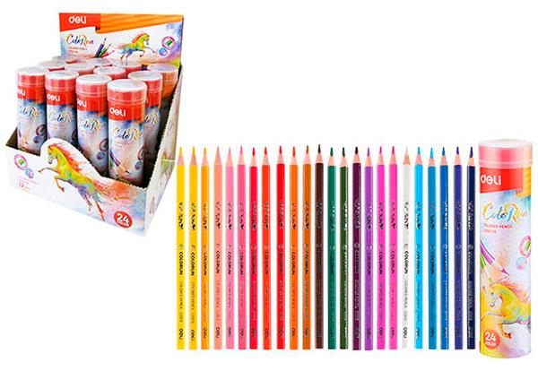 Карандаши 24 цвета треугольные в металлической тубе, ColoRun