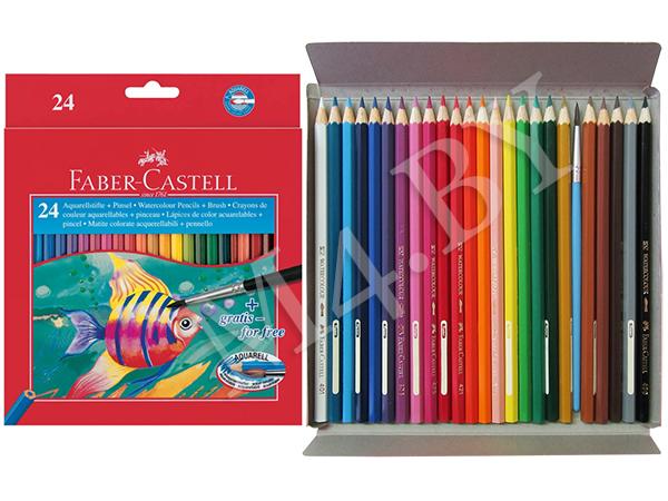 Карандаши 24 цветов акварельные+кисточка, Faber-Castell