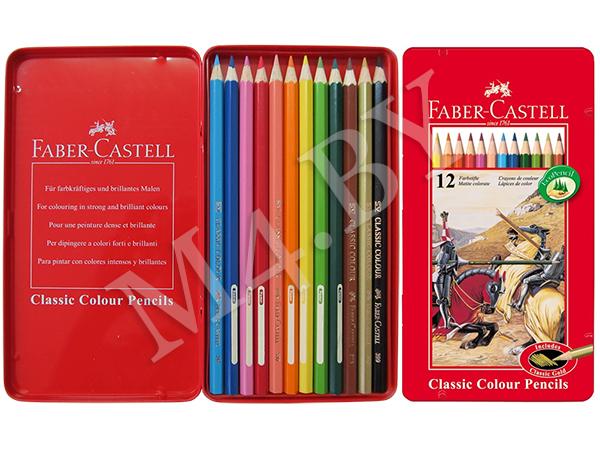 """Карандаши 12 цветов в металлической коробке, """"РЫЦАРЬ"""", Faber-Castell"""
