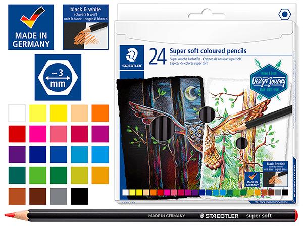 Карандаши STAEDTLER «Super Soft», 24 цвета (особо мягкие)