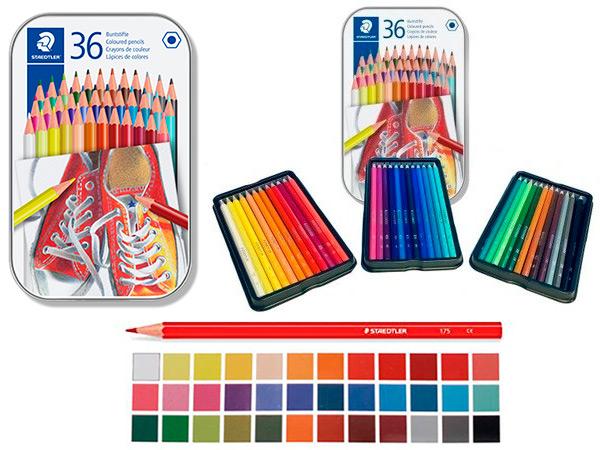 Карандаши 36 цветов, в металической коробке, STAEDTLER