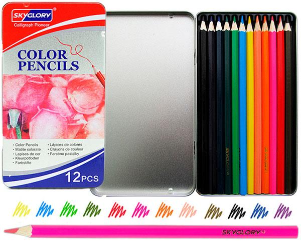 Карандаши SkyGlory 12 цветов в металлическом пенале арт. 513-12Н