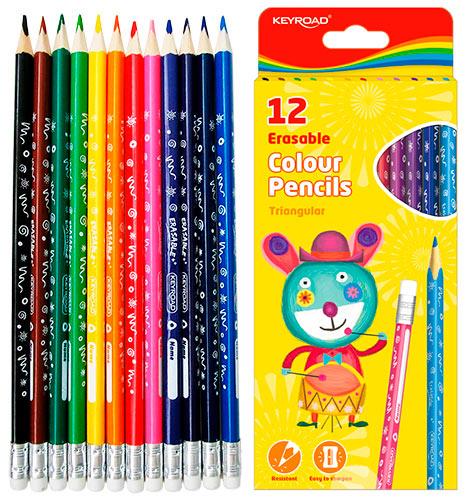 Карандаши KEYROAD, 12 цветов, каждый карандаш с ластиком