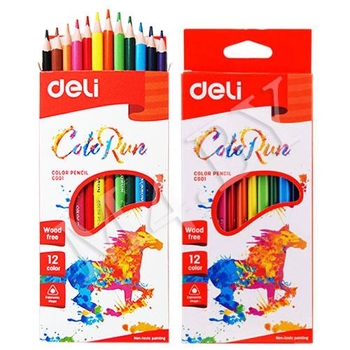Карандаши 12 цветов треугольные пластиковые, ColoRun