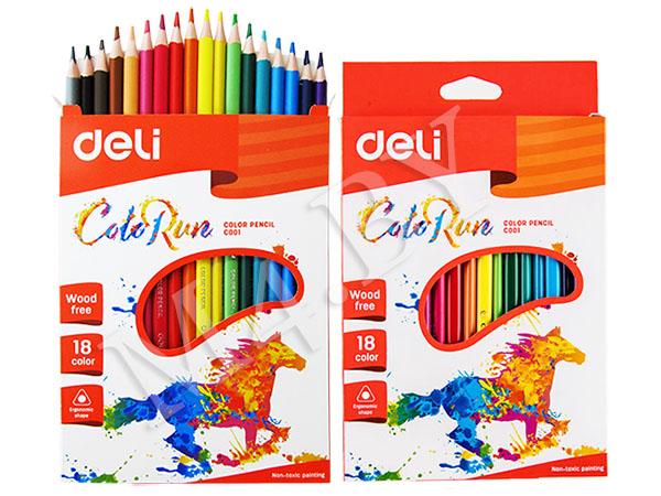 Карандаши Deli «ColoRun», 18 цветов, треугольные, пластиковые