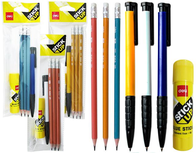 Набор карандаш с ластиком НВ 3 шт + ручка шариковая + клей карандаш 8 гр (ПОДАРОК)