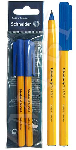 Ручка шариковая Schneider 505 F Синяя, 2шт в блистере
