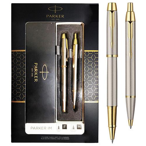Подарочный набор из 2-х ручек Parker IM Brushed Metal GT роллер+шариковая ручки