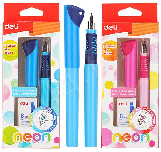 Ручка перьевая NEON + 6 картриджей, Deli