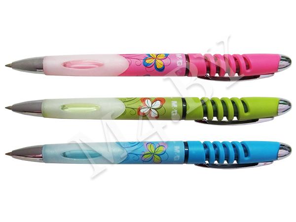 Ручка шариковая синяя, FLOWER