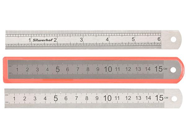 Линейка 15 см, металлическая нержавеющая (двухсторонняя шкала), Silwerhof