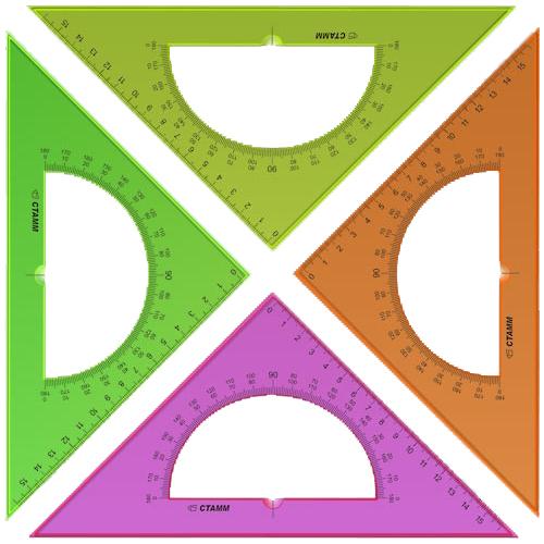 Треугольник 45*16 с транспортиром флюоресцентный прозрачный