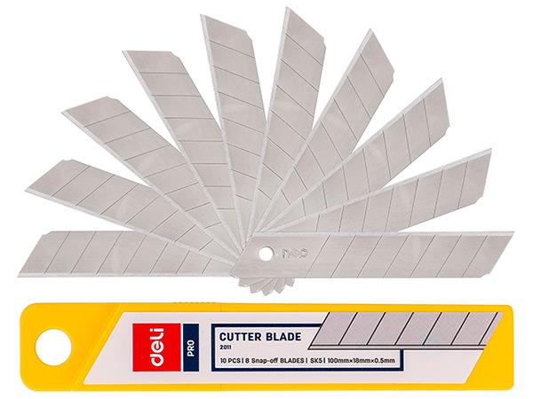 Лезвия для ножа 18 мм, 10 шт., Deli 2011