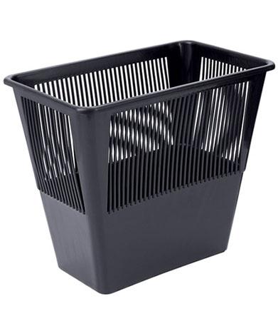 Корзина для бумаг 12 л., черная, прямоугольная, СТАММ
