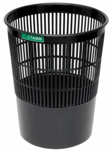 Корзина для бумаг 14 литров черная, сетчатая, СТАММ