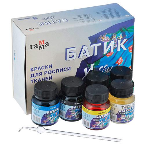 Акрил по ткани 5 цветов/70 мл, БАТИК-АКРИЛ