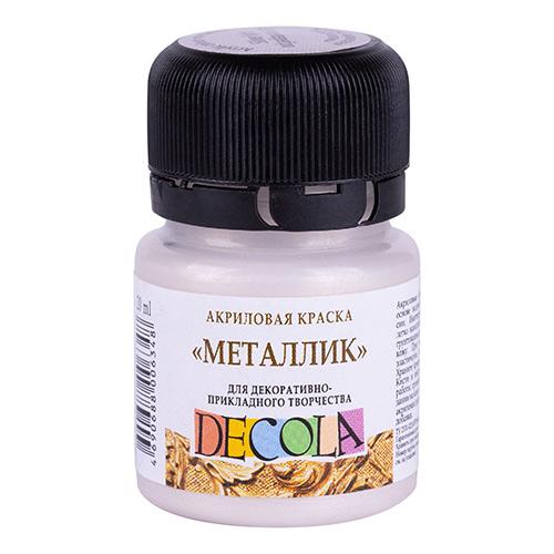 Акриловая краска 20 мл металлик, серебро светлое, DECOLA