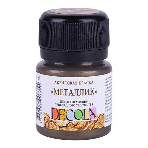 Акриловая краска 20 мл металлик, античное золото, DECOLA