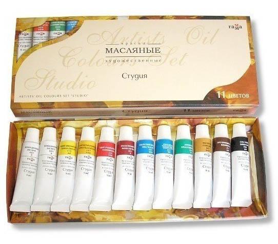 Краски масляные художественные, 10 цветов+2 белых 9 мл, Студия