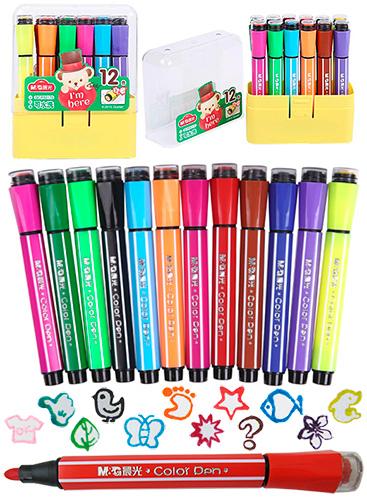 Фломастеры-штампы M&G 12 цветов TEDDY арт. 92170QCP