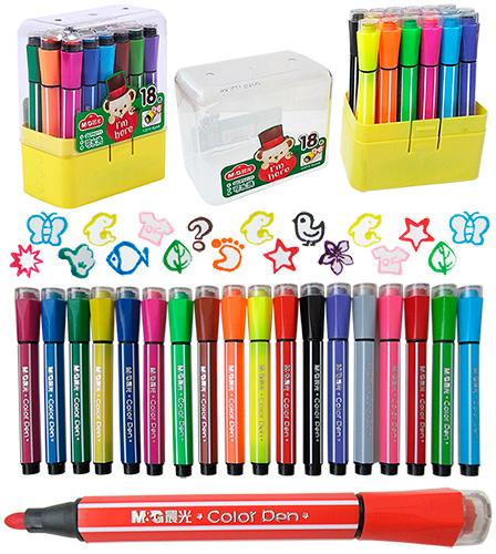 Фломастеры-штампы M&G 18 цветов TEDDY арт. 92171QCP