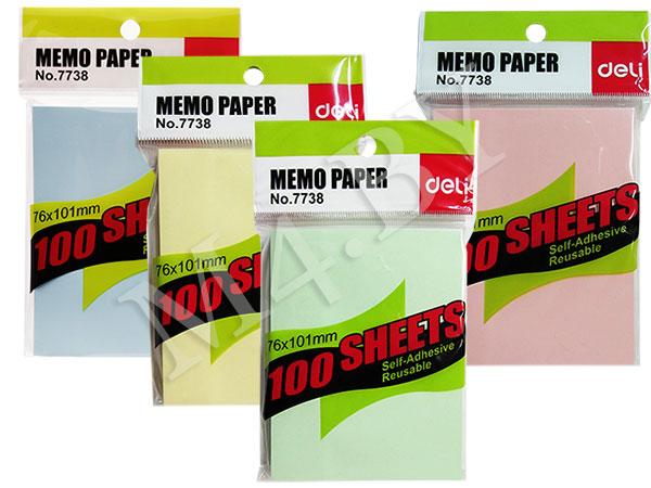 Блок для заметок с липким слоем 76*100 100 листов